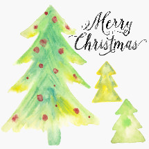 Merry Christmas lettering and water color texture Christmas trees.