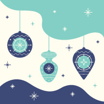 hanging ornaments and snowflakes vector