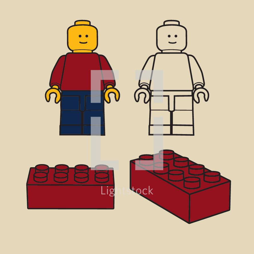 lego figure, blocks, legos, building blocks, illustration