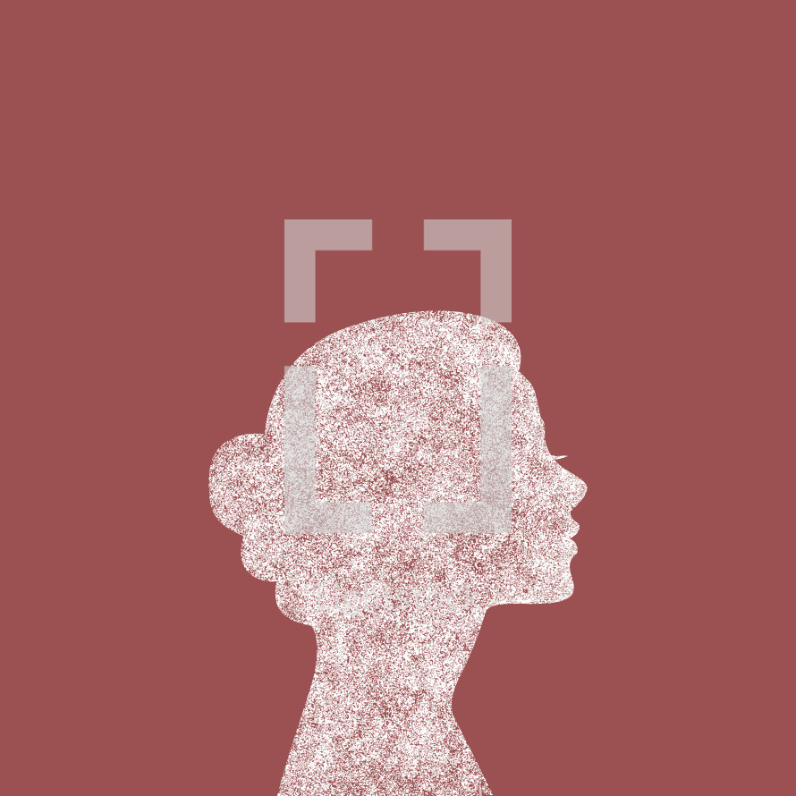 grunge woman side profile silhouette