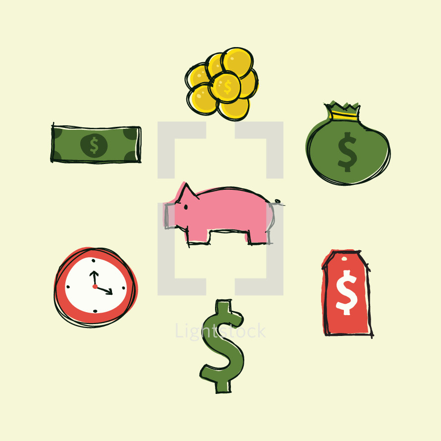 money, savings, clock, price tag, $, piggy bank, coins, cash, dollar, money bag