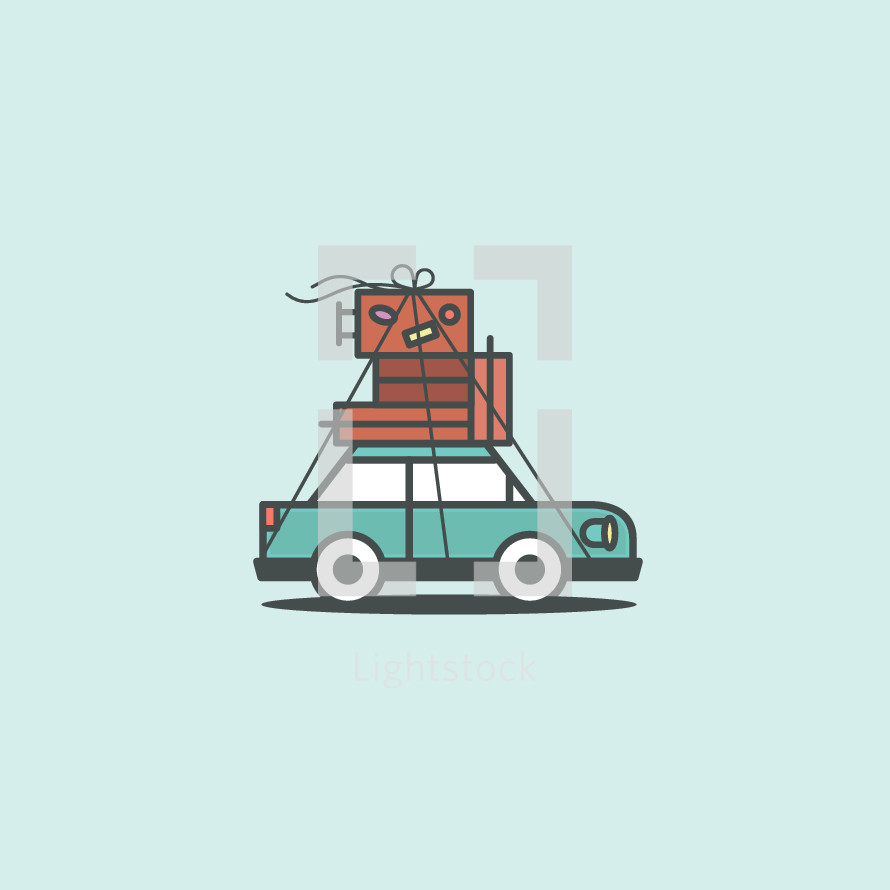 luggage on the top of a car