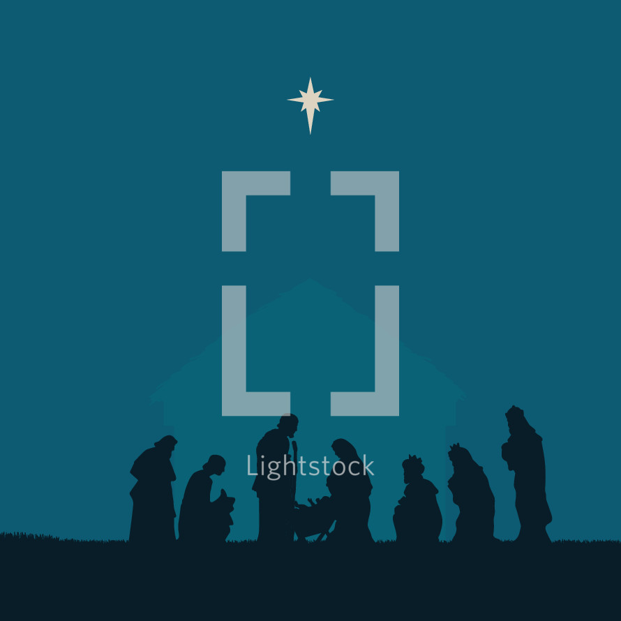 Nativity scene silhouette.
