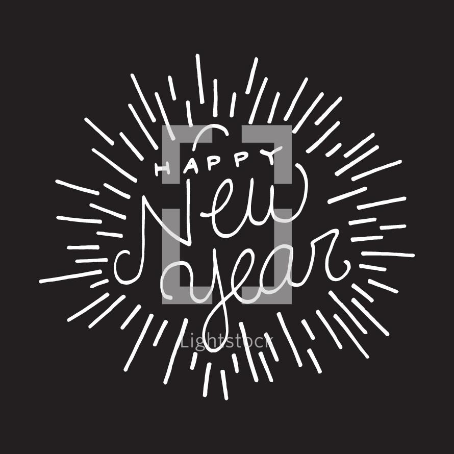 Happy New Year typography.