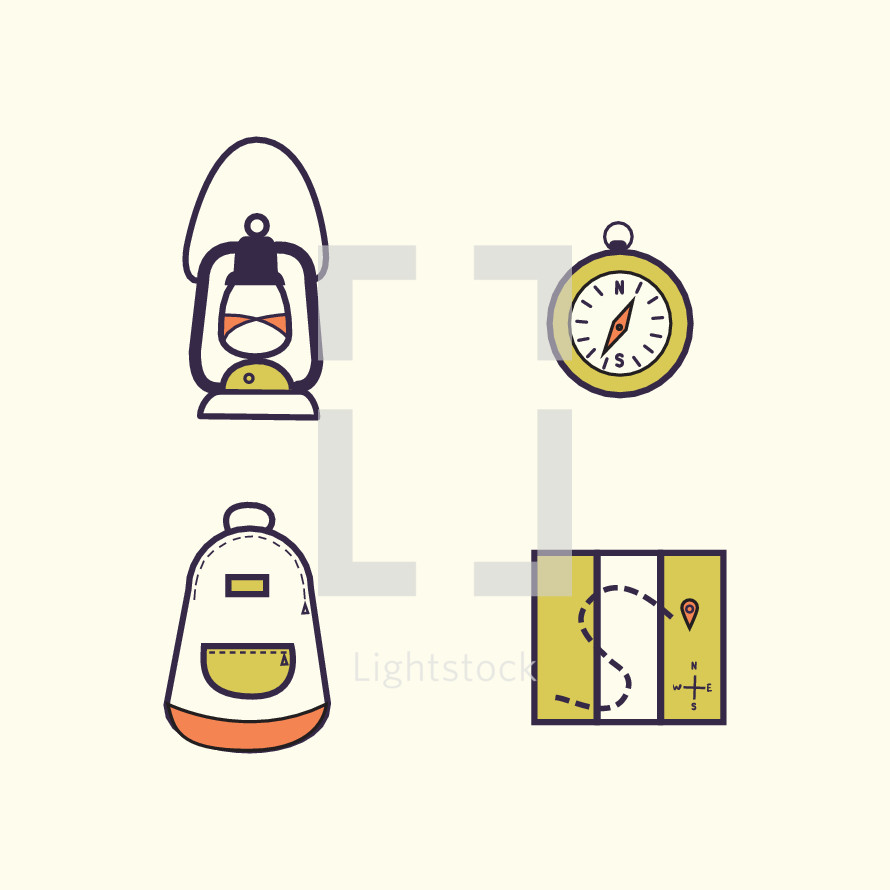 lantern, travel, backpack, book bag, map, compass, direction, icon