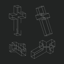 3D crosses wireframes.