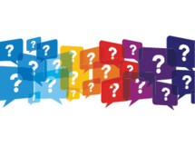 colorful question speech bubbles.