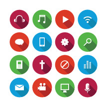 Music and media icon set.