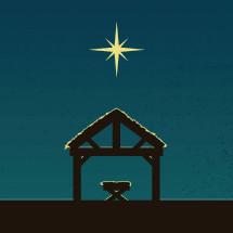 modern manger scene illustration.