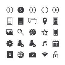 Set of various web icons.