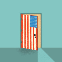 open door with USA flag