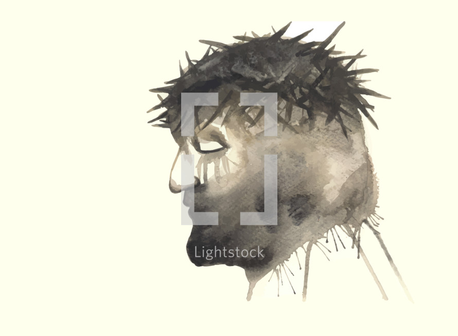 Vector watercolor portrait of Jesus just before being crucified.