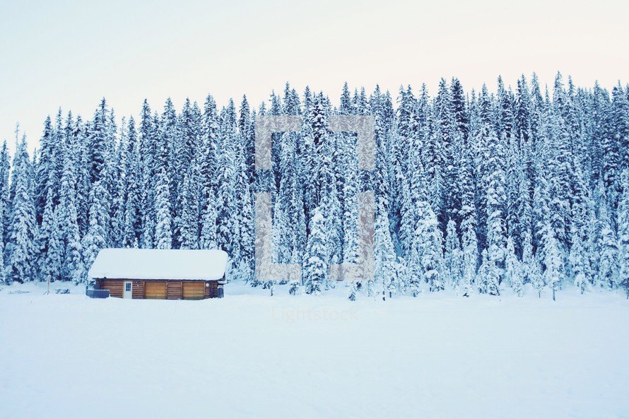 A small log house in a snow covered landscape of meadow and trees.