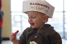 toddler eating candy