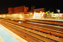 blurry of train tracks in a city