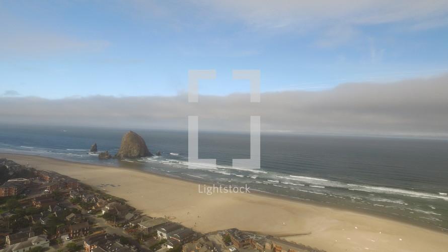 aerial view over a shoreline