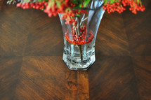 Fall flowers in a glass vase