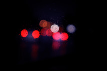 Bokeh lights and waterdrops