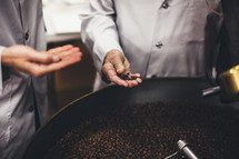 coffee beans in a vat