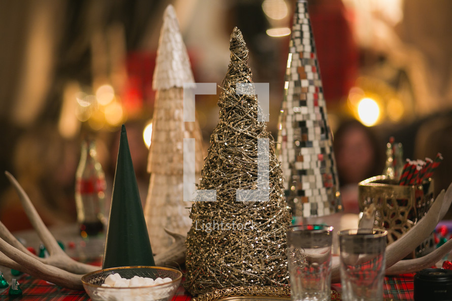 table center piece of tiny Christmas trees