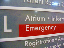 A Hospital Directory sign with the Emergency room highlighted in red along with a directory of other hospital services and locations.