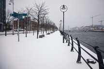 snow along a harbor