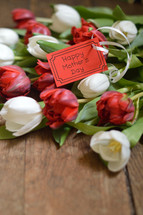 Happy Mother's Day card with a bouquet of red and white tulips for Mothers Day