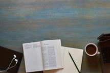 Bible study at a desk