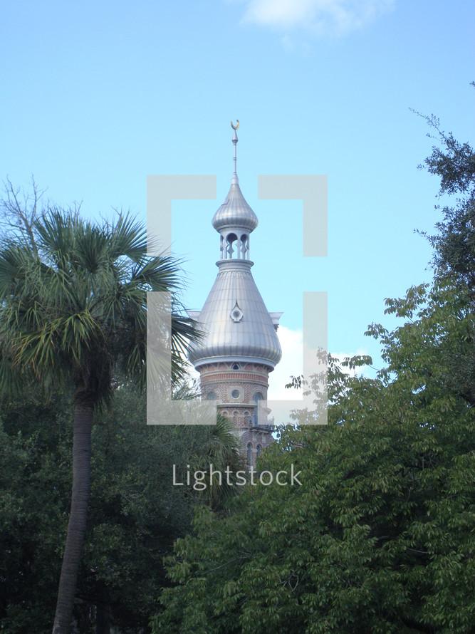 Muslim mosque tower.