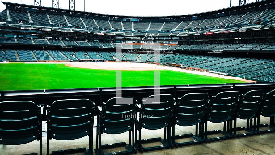 An empty baseball stadium.