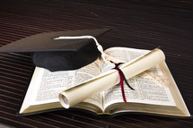 graduation, diploma, Bible, pages, cap, tassel