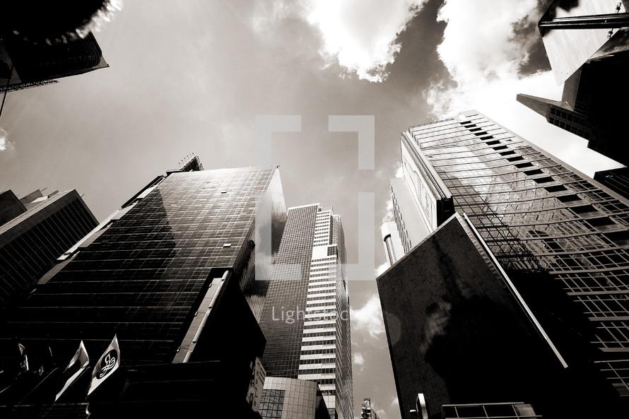 City skyscraper buildings