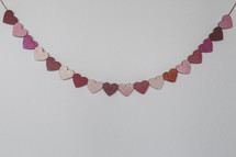 banner of Valentine hearts on a white background