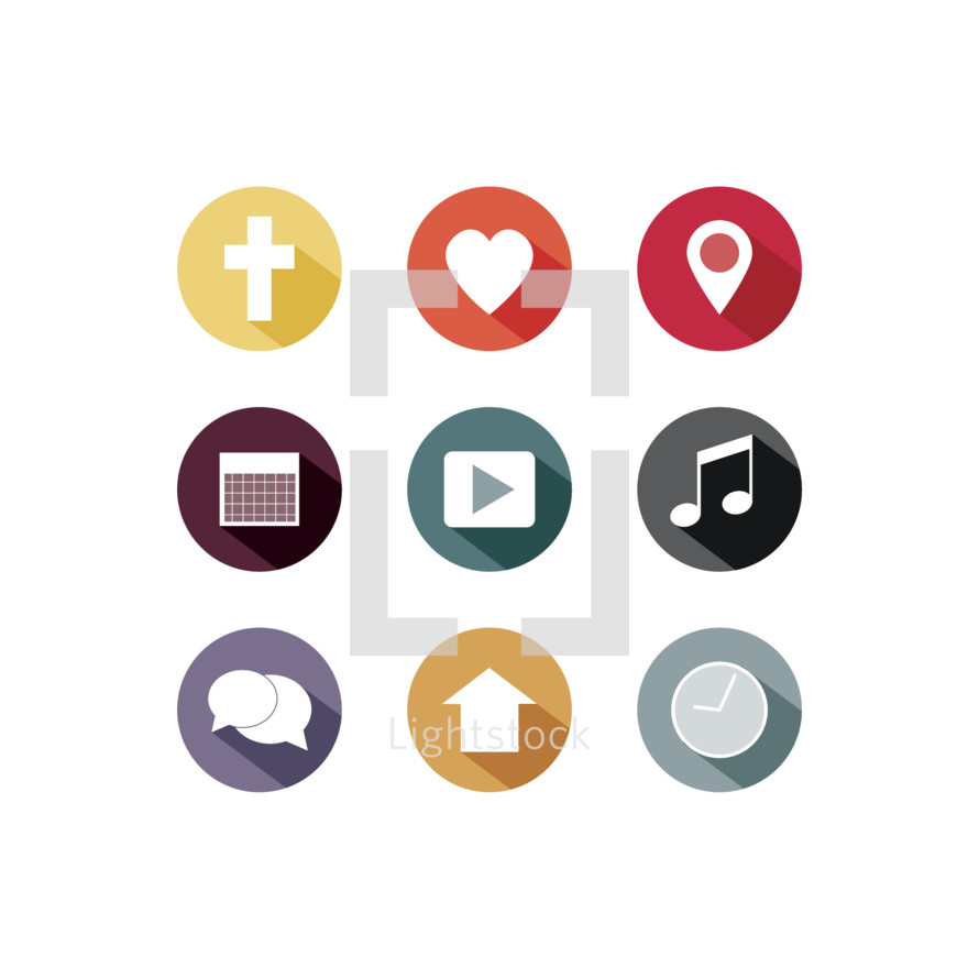 cross, heart, thought bubble, badge, icon, clock, house, play, music note, play button, calendar, pin point