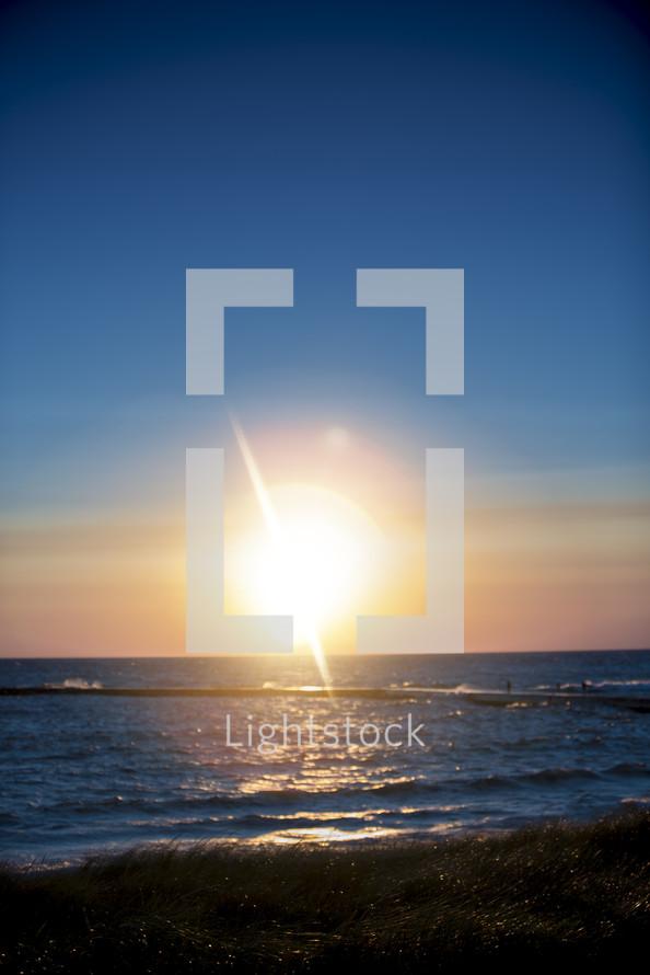 sunburst over the ocean