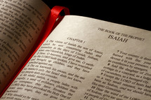 Open Bible in the book of Isaiah