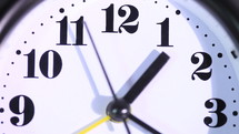 Clock alarm close up, real time
