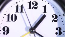 Clock alarm close up, real time