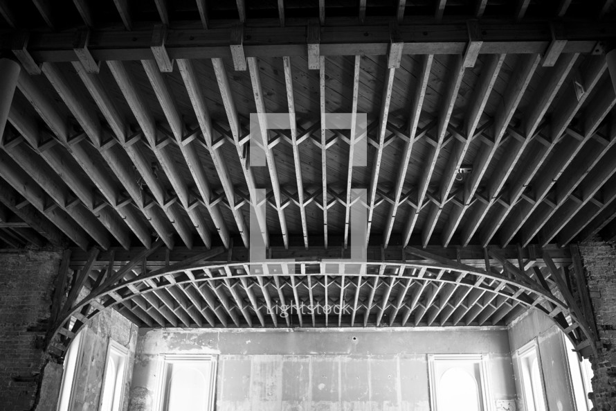 support beams on a ceiling
