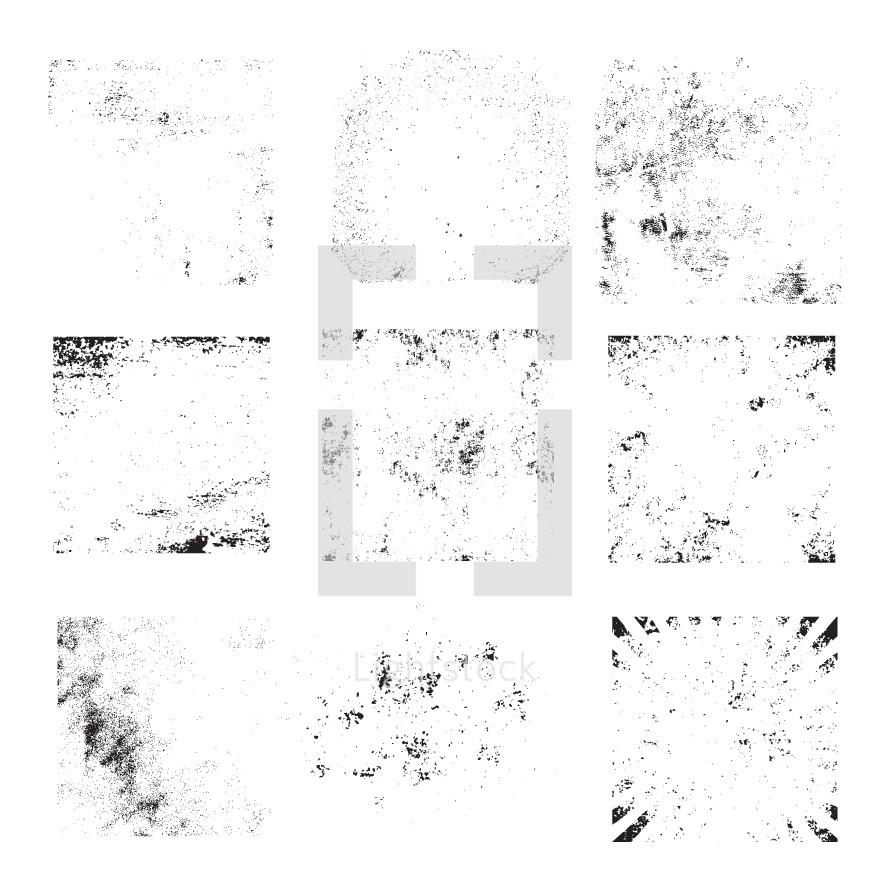 Set of grunge vector background textures.
