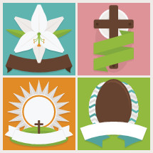 Flat, icon, Easter, badges, set, lily, cross, sun, sunrise, egg, eggs, banner, banners, flower, icons, simple, badge, resurrection, Sunday, Easter lily.