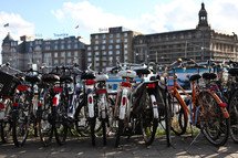 Bicycles on bicycle rack