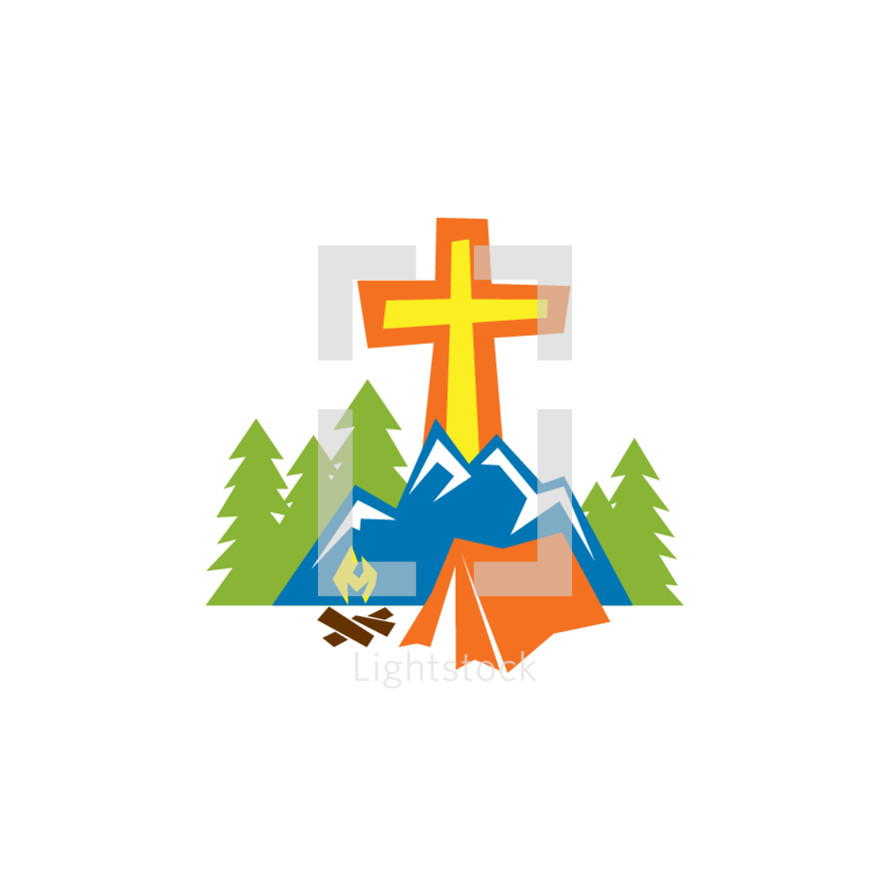 cross and tent logo