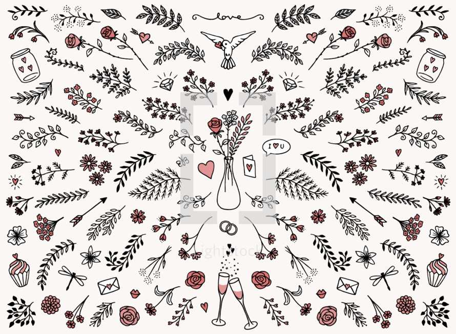 floral love red pattern