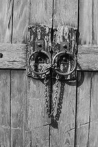 Locked barn doors with chains