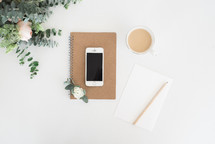 notebook, notepad, pencil, white background, journal, workspace, desk, flowers, cellphone, phone, coffee, creamer, roses, flowers