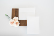 stationary, roses, wood tray