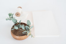 eucalyptus twig in a bowl and stationary
