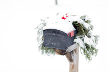 snow on a mailbox