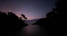 a lagoon at dusk